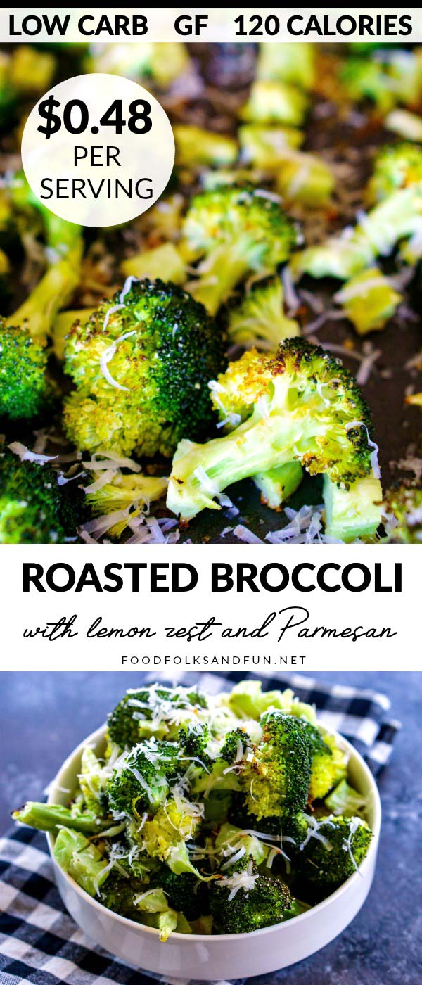 This Oven Roasted Broccoli recipe is an easy side dish that's low carb and gluten-free. It costs just $2.84 to make and serves 6. via @foodfolksandfun