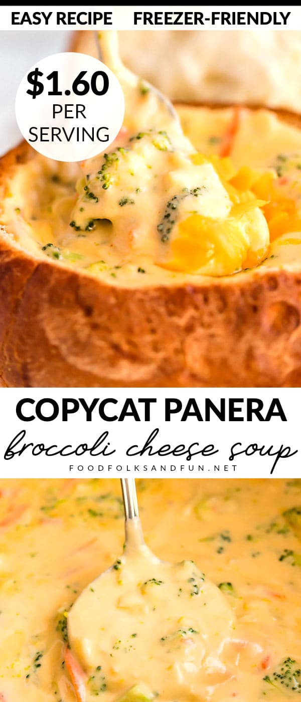 This Copycat Panera Broccoli Cheese Soup tastes just like the original! Save money by making this soup at home! It serves 4 and costs just $6.40 to make! via @foodfolksandfun