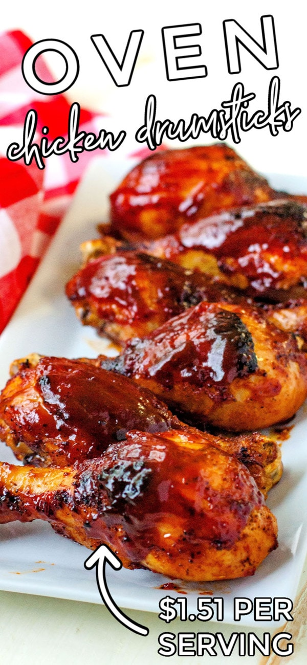 Finished Baked BBQ Chicken Drumsticks with text overlay for Pinterest.