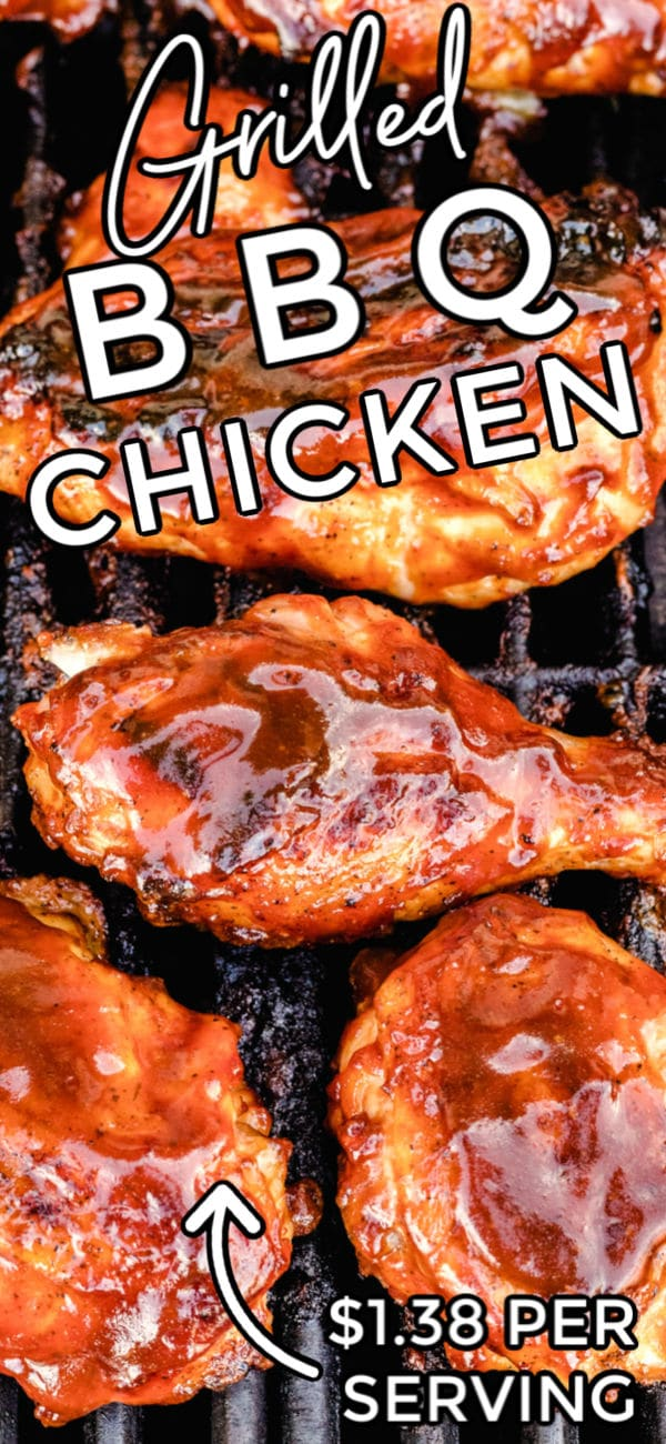 This Grilled BBQ Chicken recipe is the best ever! It's easy to make and always a crowd-pleaser. Plus it costs just $1.38 per serving to make! via @foodfolksandfun