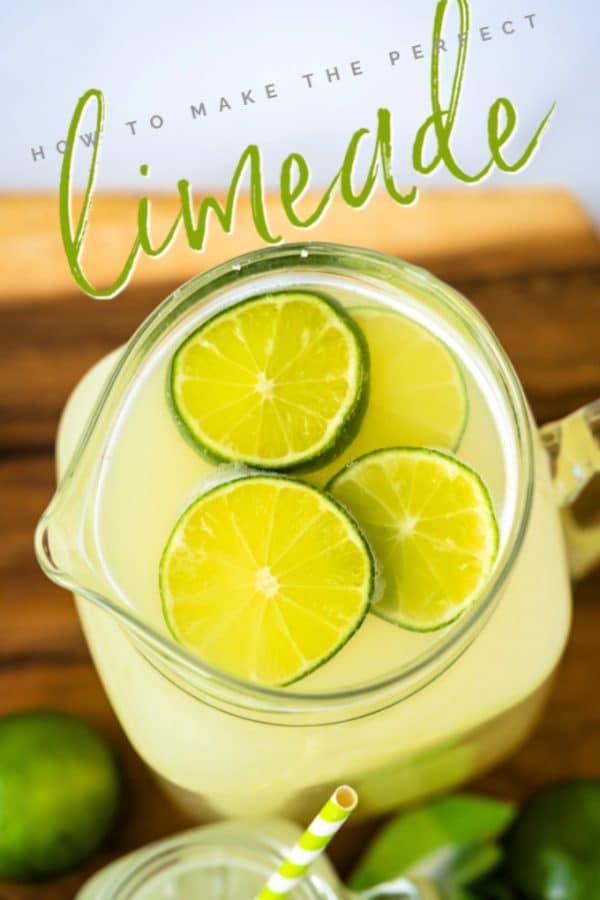 Finished limeade recipe with text overlay for Pinterest.