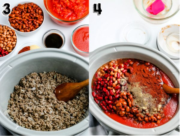 All of the ingredients in a crockpot before the chili is cooked.