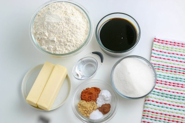 An overhead picture of all of the ingredients needed to make this soft gingerbread cookies recipe.