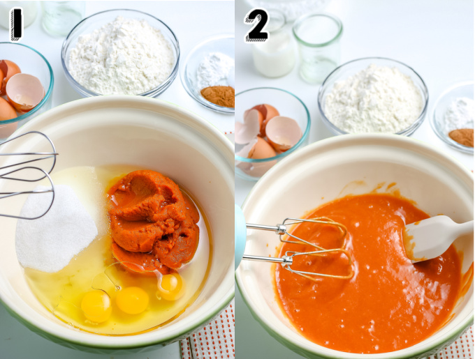 The sugar, eggs, and pumpkin in a large mixing bowl.