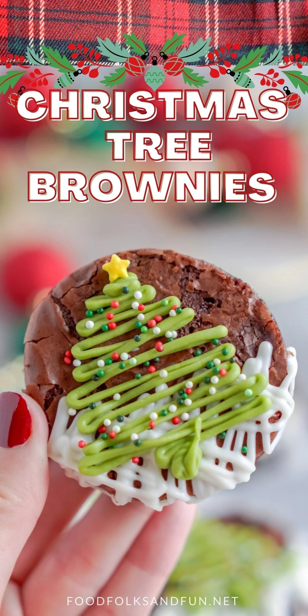Christmas Tree Brownies are fun festive treats that are easy to make. They're perfect for holiday parties and adding to Christmas cookie trays. via @foodfolksandfun