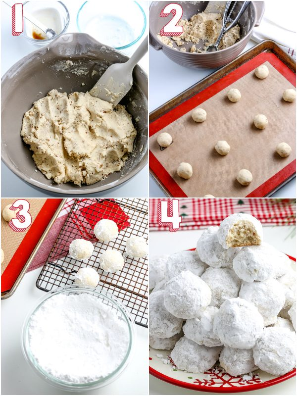 The baked cookies being rolled into powdered sugar.
