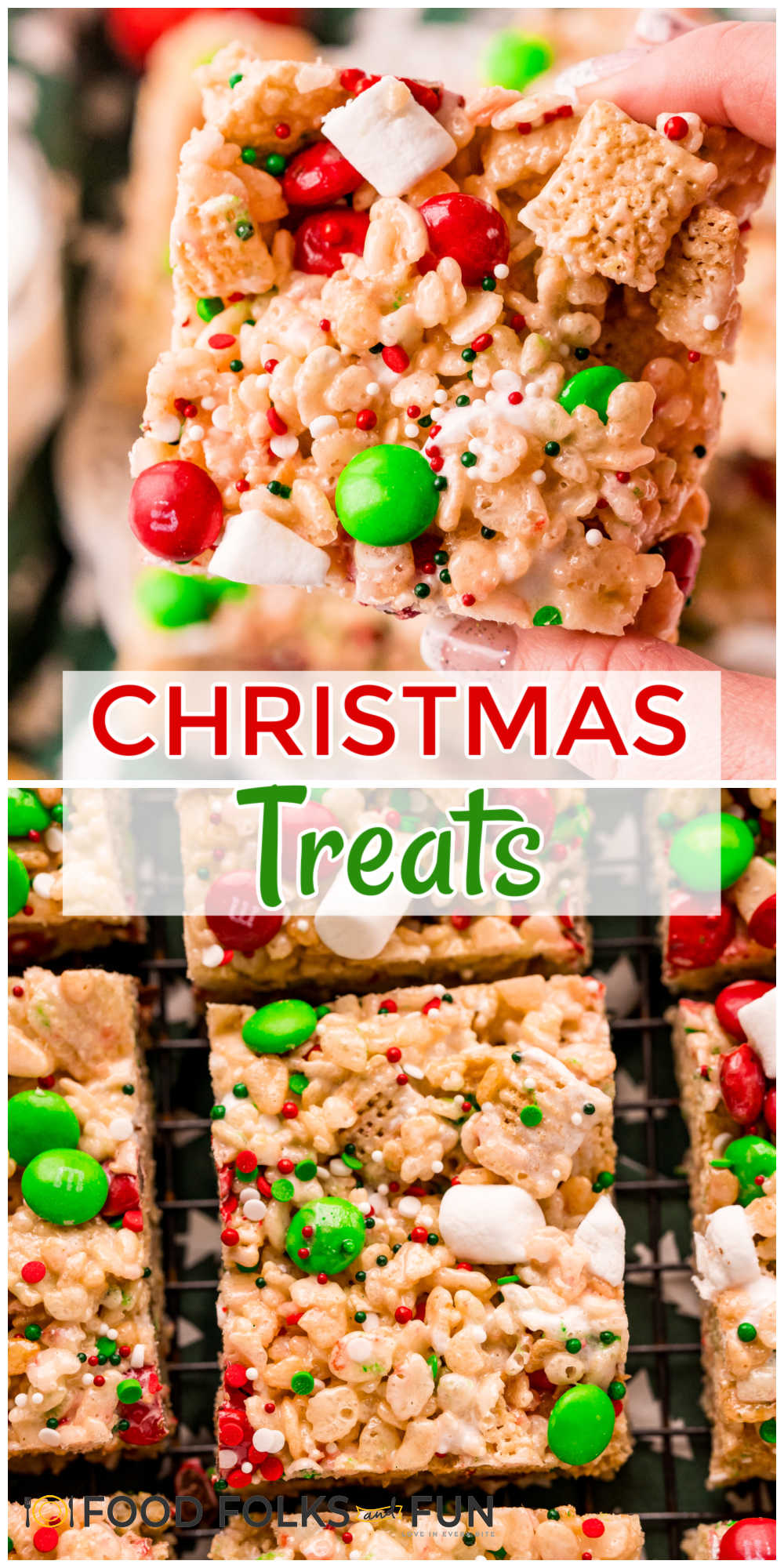 These Christmas Rice Krispie Treats are easy Christmas treats that kids will love. They're loaded with M&Ms, sprinkles, and mini marshmallows. via @foodfolksandfun