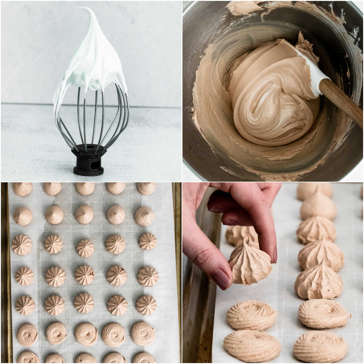 A picture collage of how to make Chocolate Meringues.