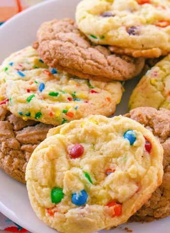 Cake Mix Cookies on a white platter.