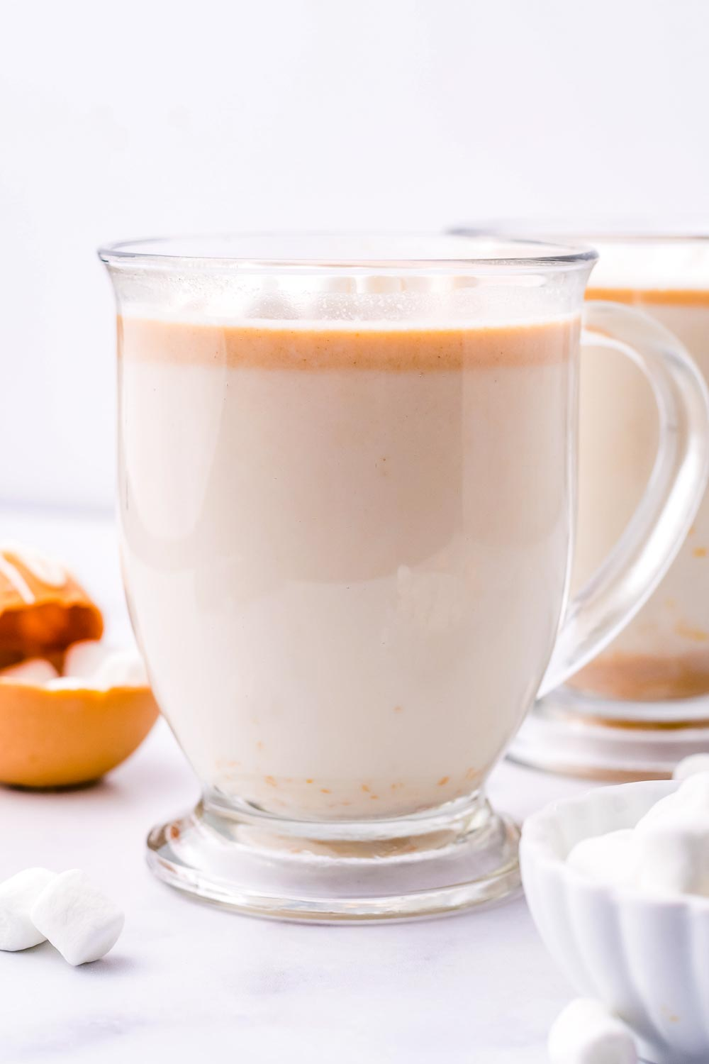 A cup of Peanut Butter White Hot Chocolate.