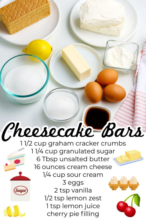 All of the ingredients needed to make this Cheesecake Bars recipe.