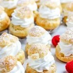 The finished Cream Puffs on a white serving platter.
