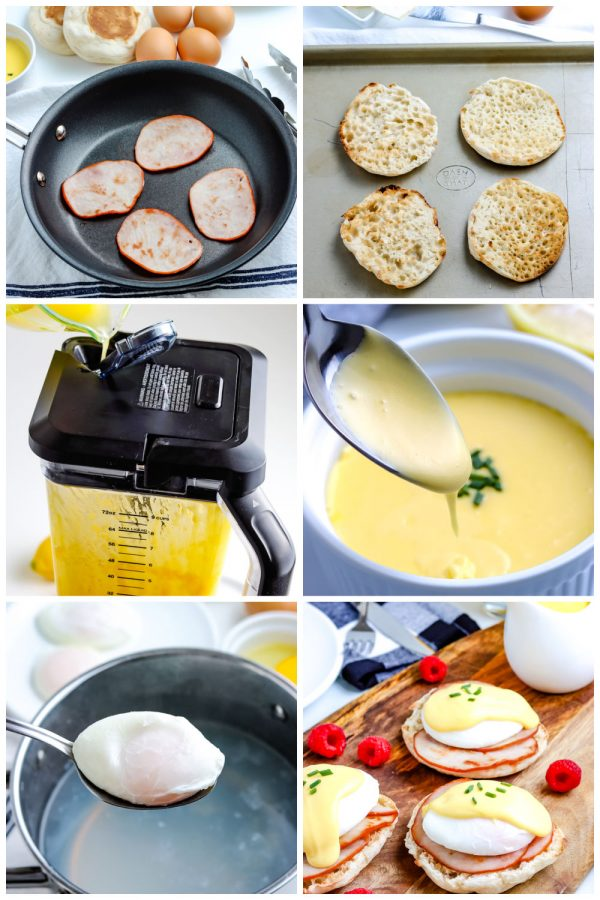 A picture collage of how to make Eggs Benedict with blender Hollandaise Sauce.