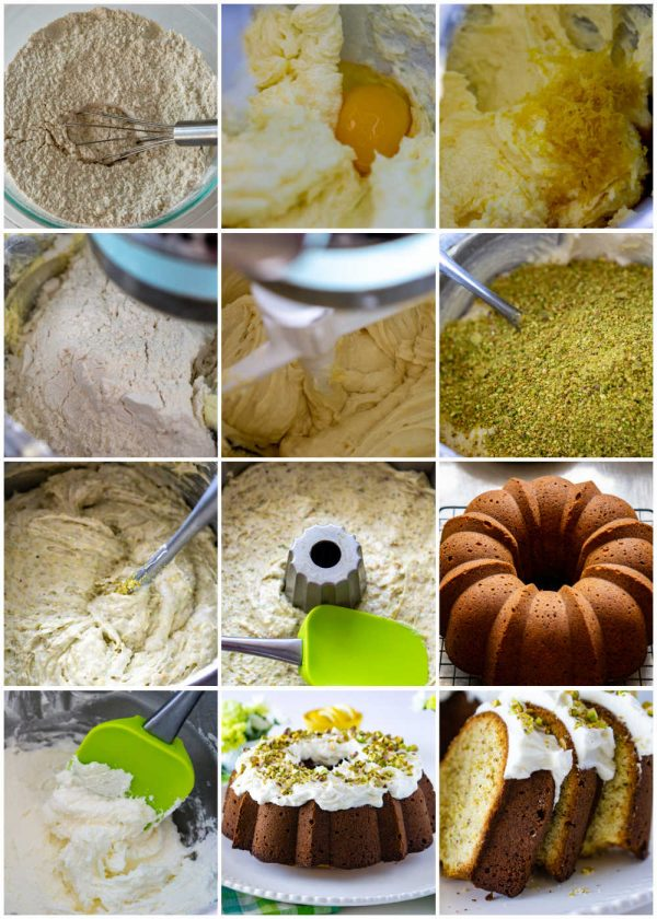 A picture collage of how to make Pistachio Bundt Cake with step-by-step picture.