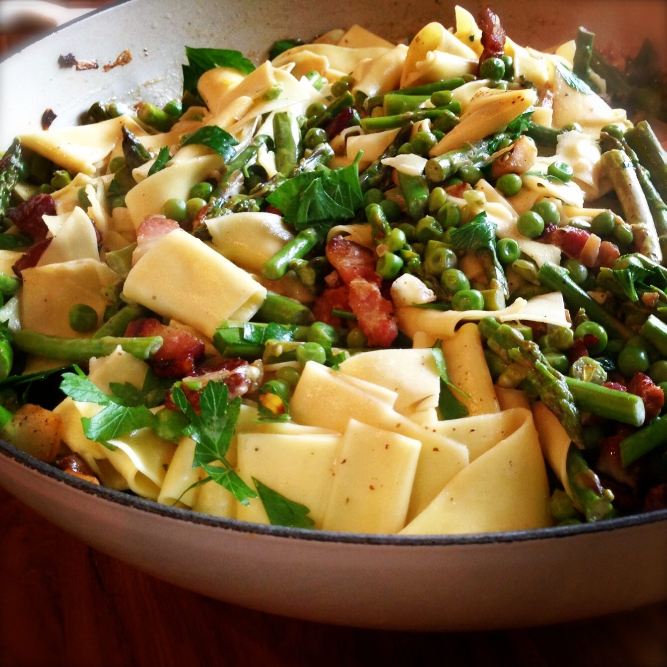 <p>One for the <strike>record</strike> recipe books!!</p> Asparagus, Spring Peas & Bacon with Pappardelle in a White Wine Cream Sauce