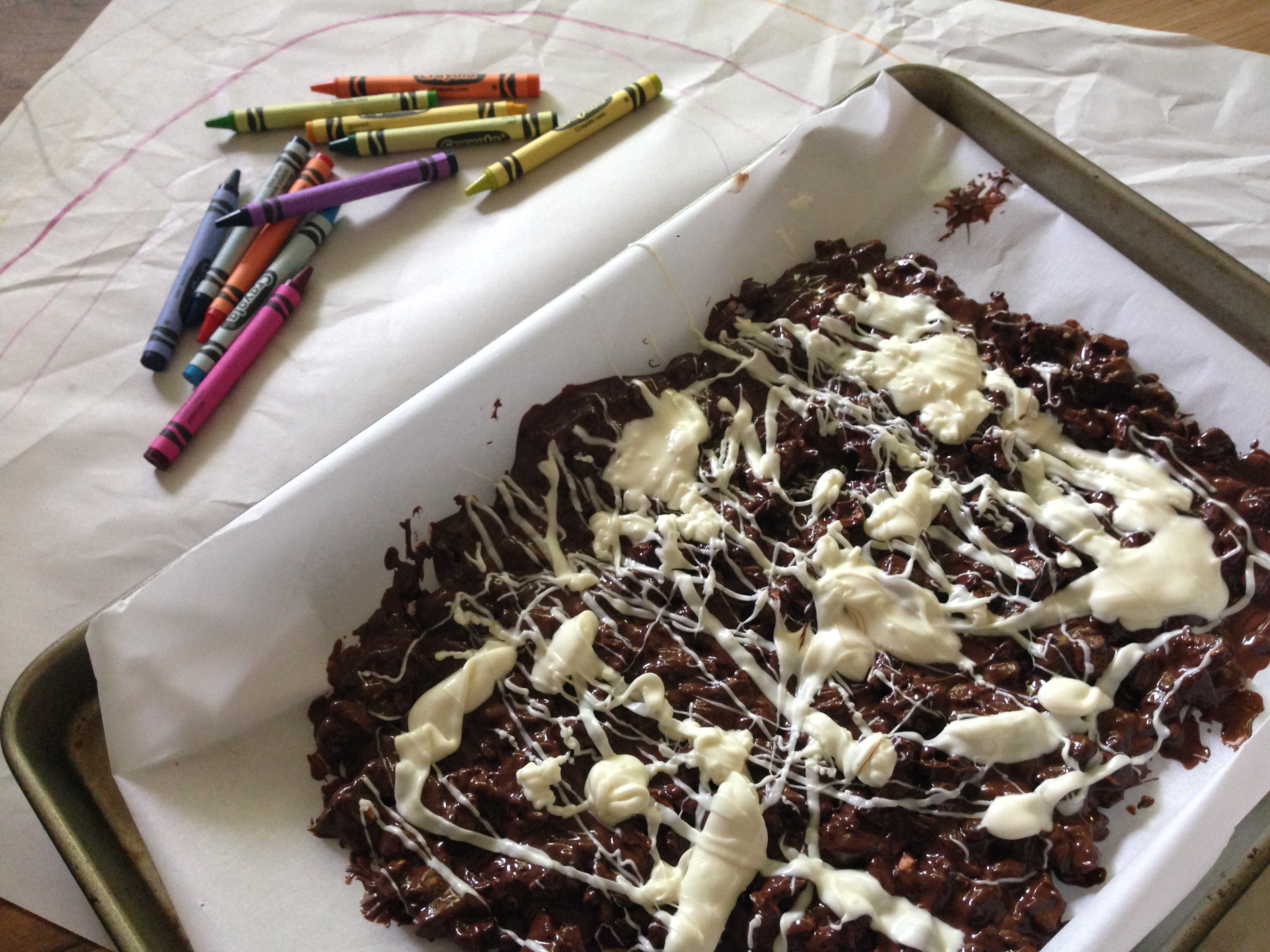 Cooking with Kiddos & Crayons in the Kitchen ((oh, and there is chocolate))