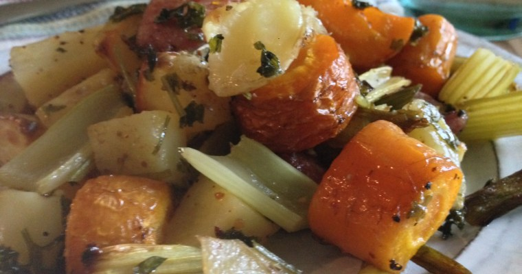 Rustic Oven-Roasted Herbed Root Veggies & Sweet Smoked Sausage