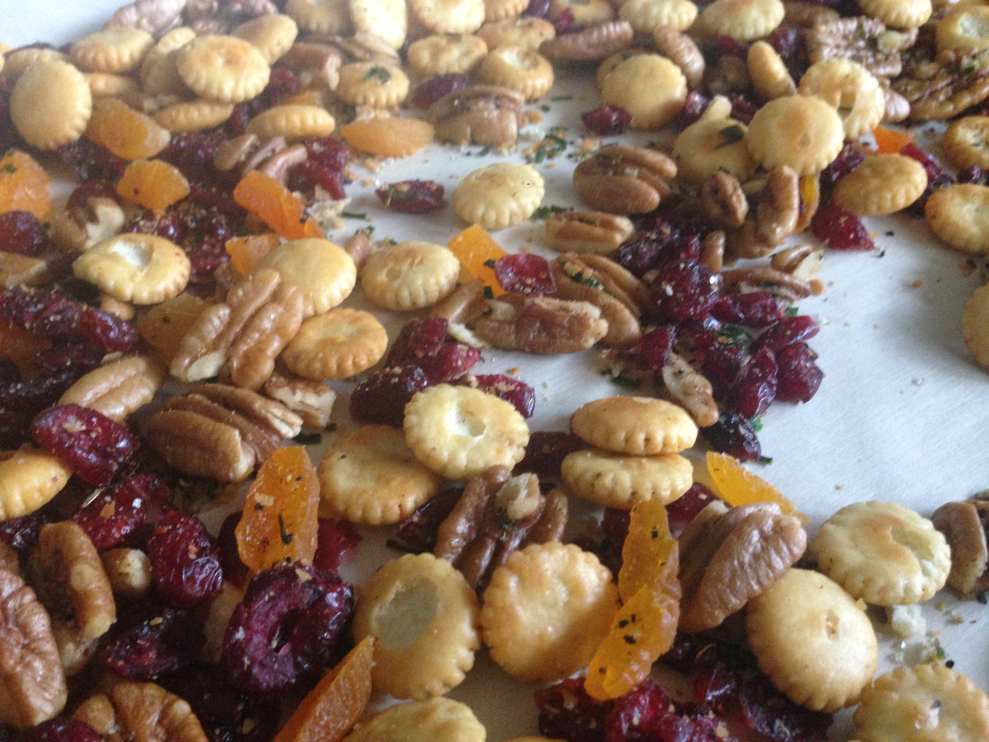 Pecan, Cranberry & Chive Party Mix: a Party Mix for the 21st Century