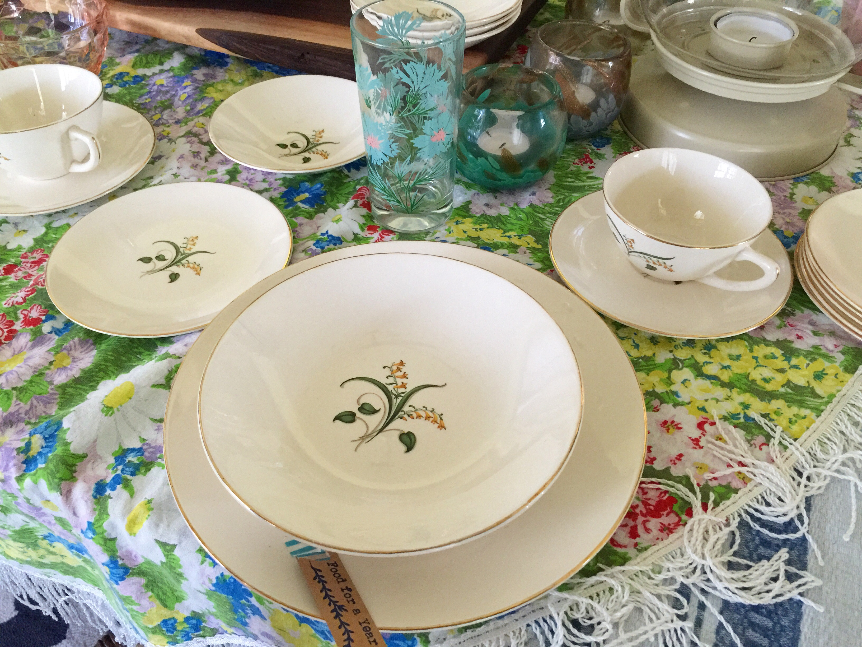 For Sale ((by Emily)) set of 42 Knowles – Forsythia dishes; $98