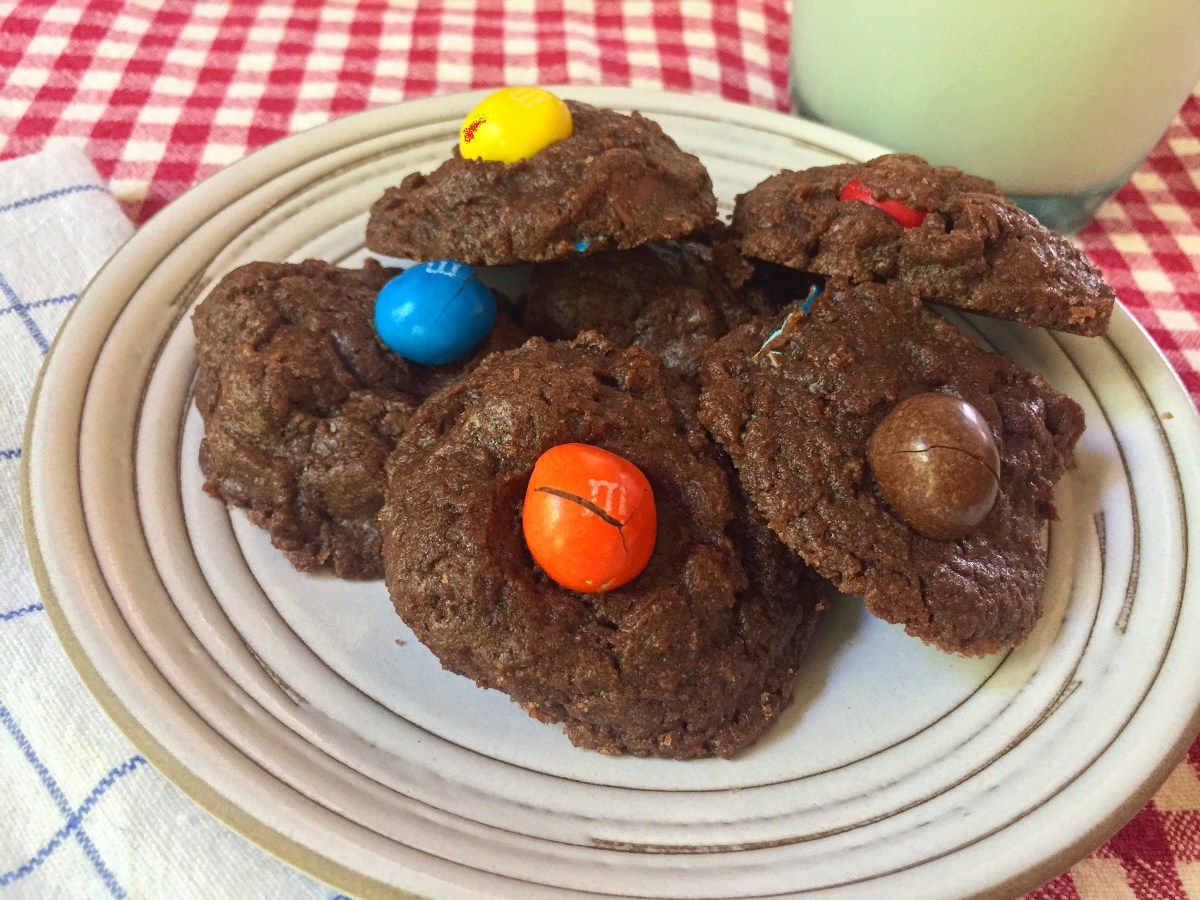Chocolate Chocolate Chip Cookies + Caramel M&M's