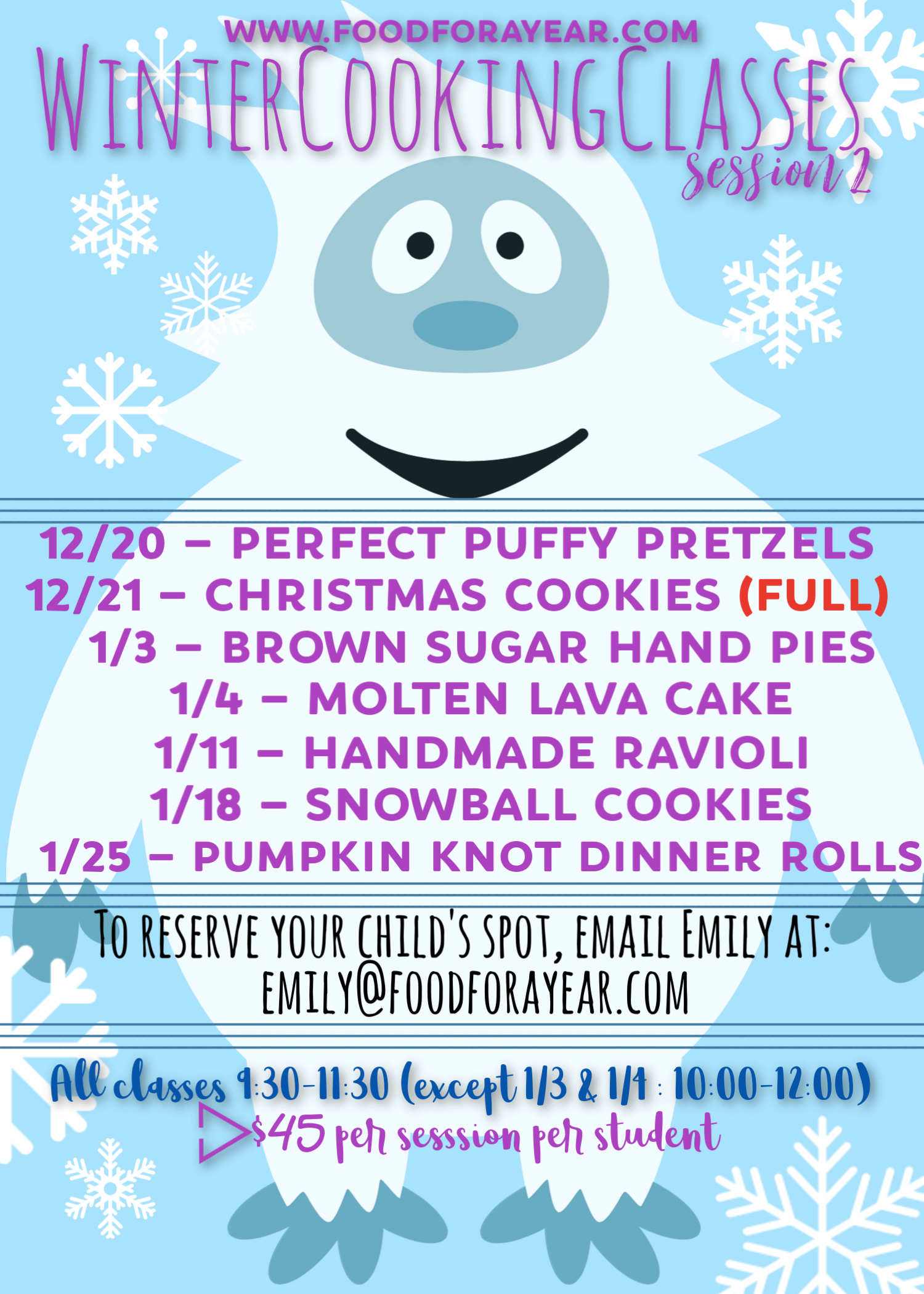 Winter 2018-2019 Kid's Cooking Classes Session 2