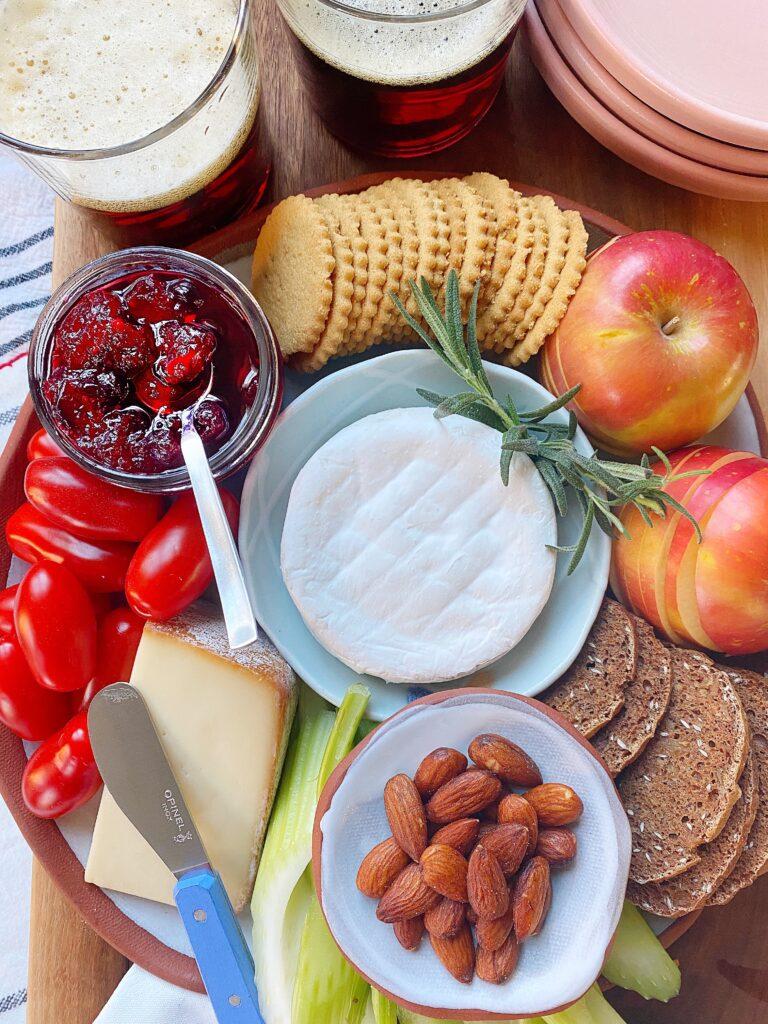 graze board with cranberries