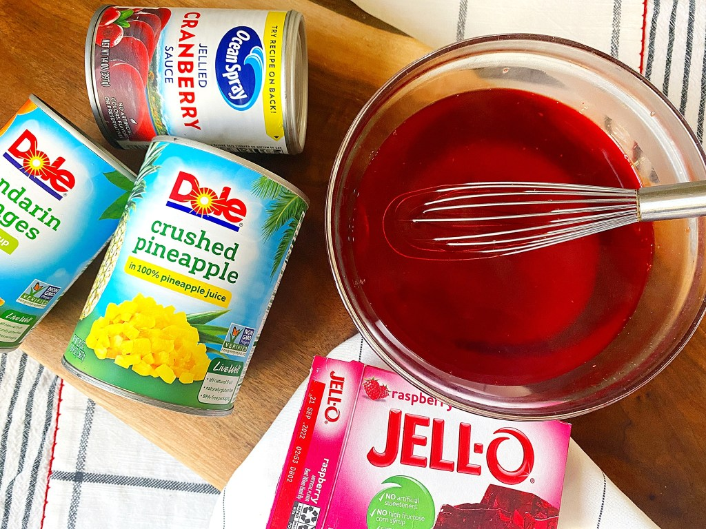 mixed jello and cranberry salad ingredients
