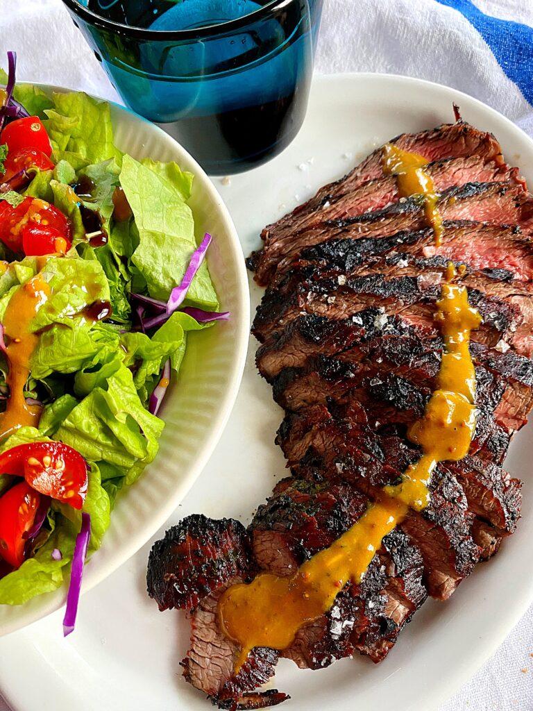 dinner served marinated flank steak