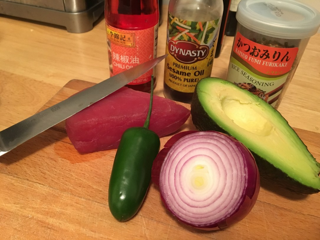 tuna and avocado ingredients