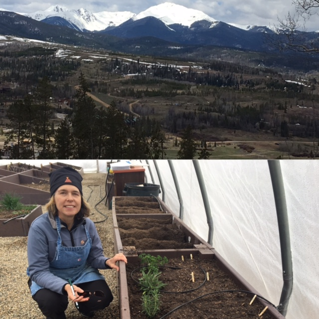 Me crouching by my new garden bed at the Fraser Valley Community Garden. Love the place and the people here.