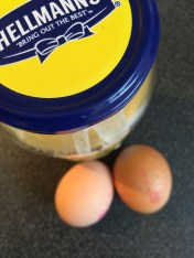 Breakfast: Two eggs, hard boiled and mixed with some mayo