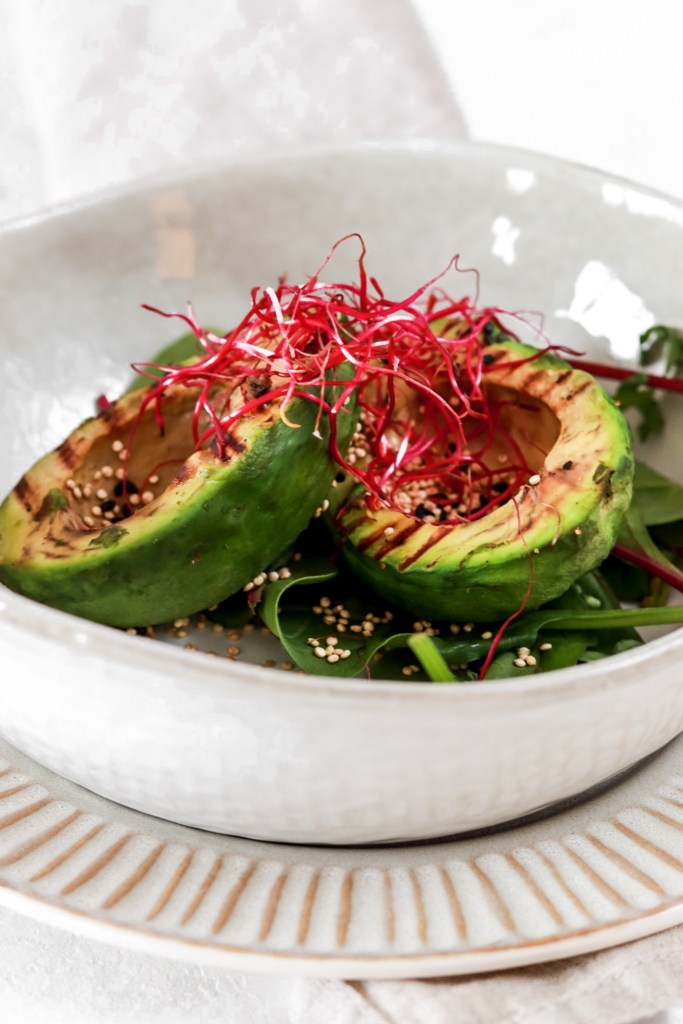 Grilled Avocado with Roasted Quinoa (Vegan & Gluten Free) From Front Close Up