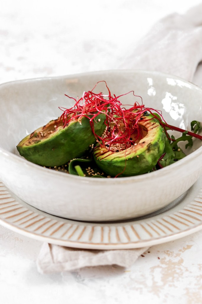 Grilled Avocado with Roasted Quinoa (Vegan & Gluten Free) From Front In A Bowl