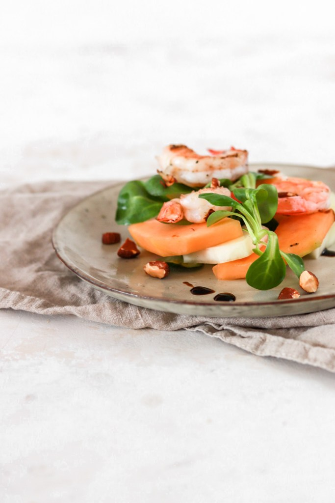 Melon & Scampi Salad (Gluten, Grain Free & Low Carb) From Front