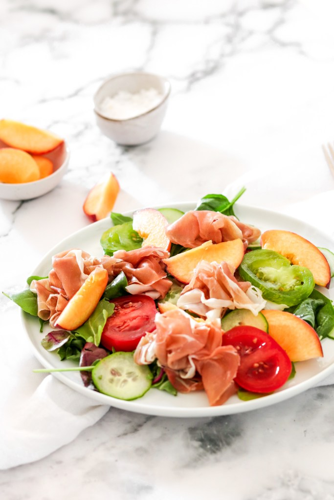Prosciutto & Peach Salad (Gluten, Grain Free & Low Carb) From Front