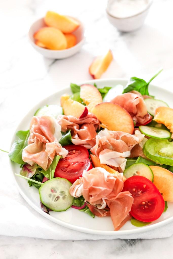 Prosciutto & Peach Salad (Gluten, Grain Free & Low Carb) Close Up