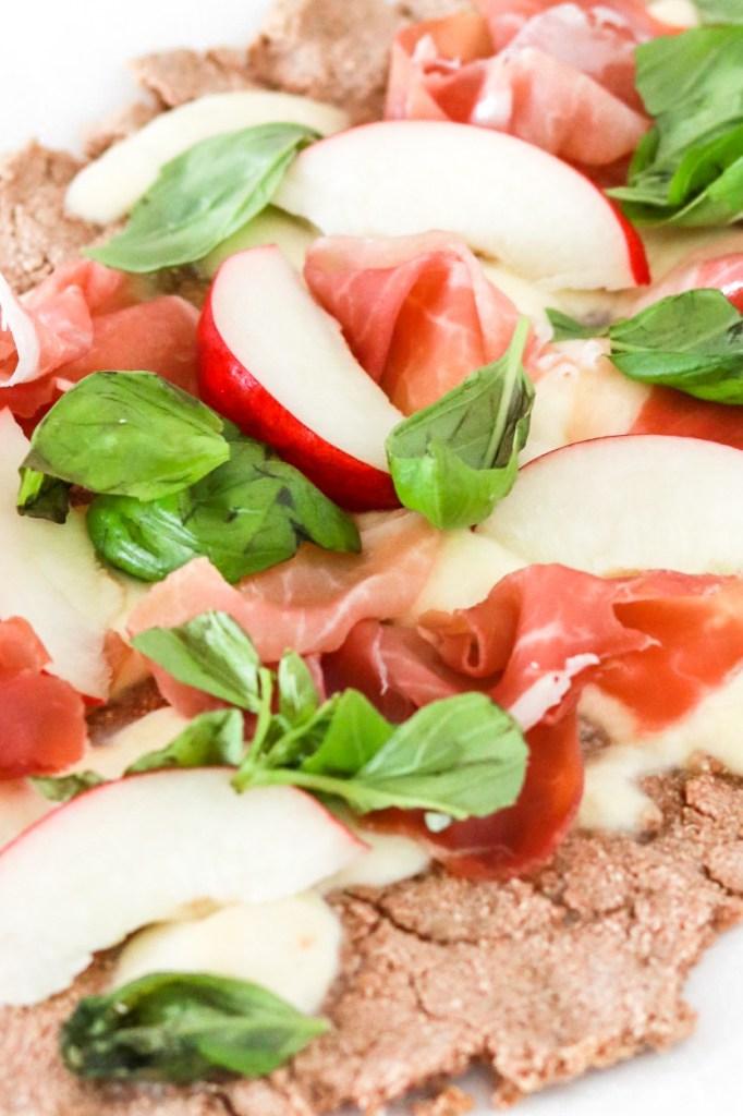 Prosciutto & Peach Flatbread Pizza Close Up