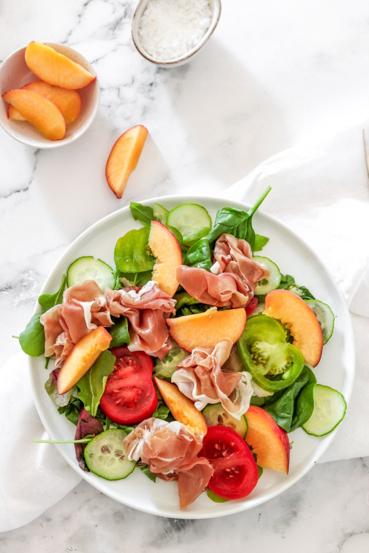 Prosciutto & Peach Salad (Gluten, Grain Free & Low Carb)