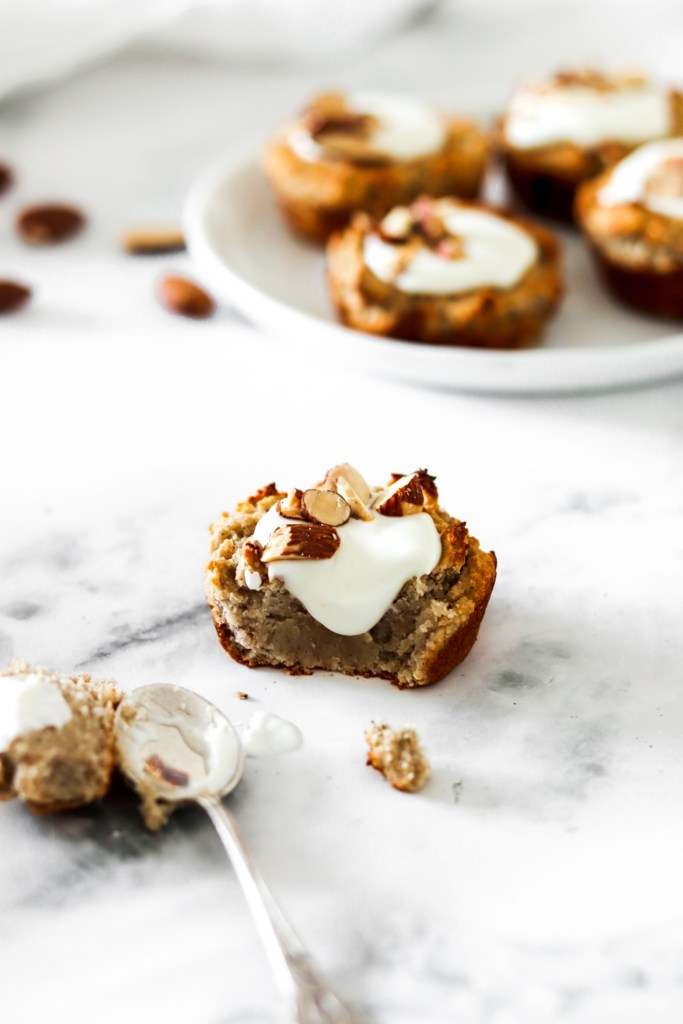 Vegan white bean muffin cups from close inside