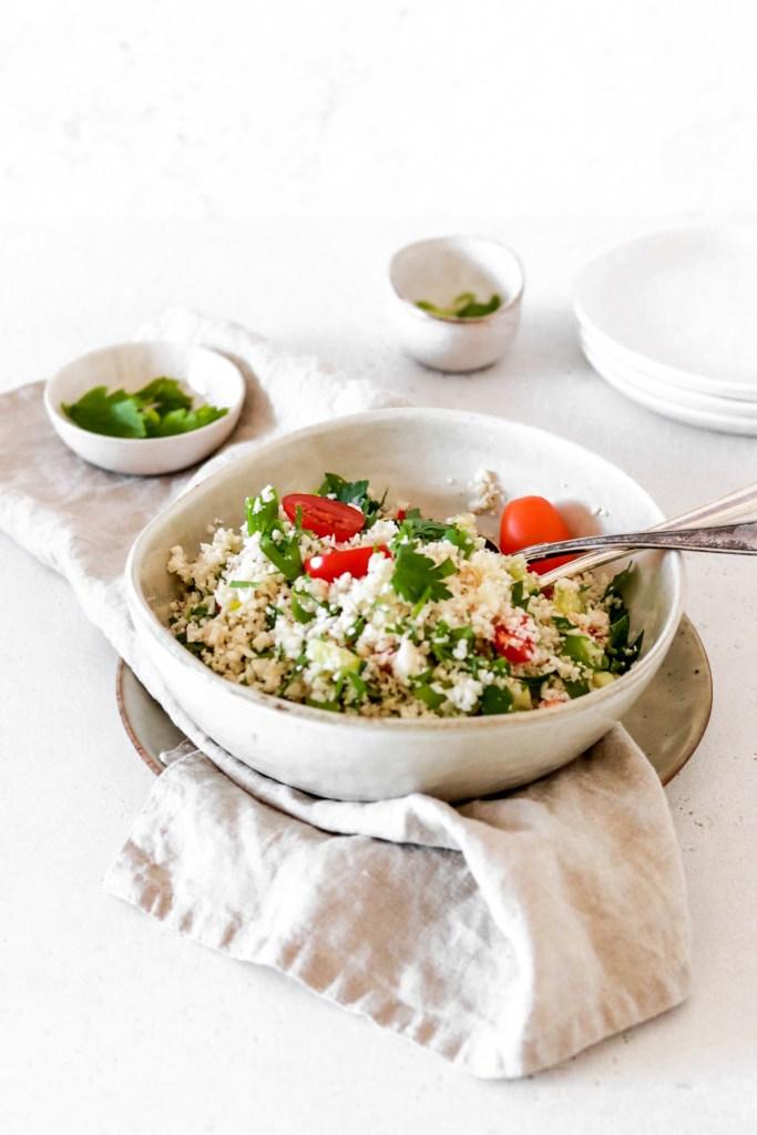 Cauliflower Tabbouleh (Vegan, Gluten, Grain Free & Low Carb) From Front