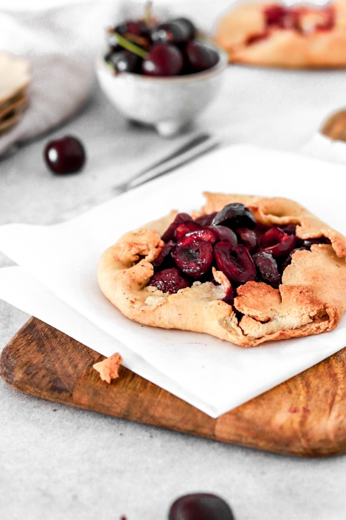 Cherry Galette (Vegan, Gluten, Oil & Sugar Free) From Front On Cutting Board