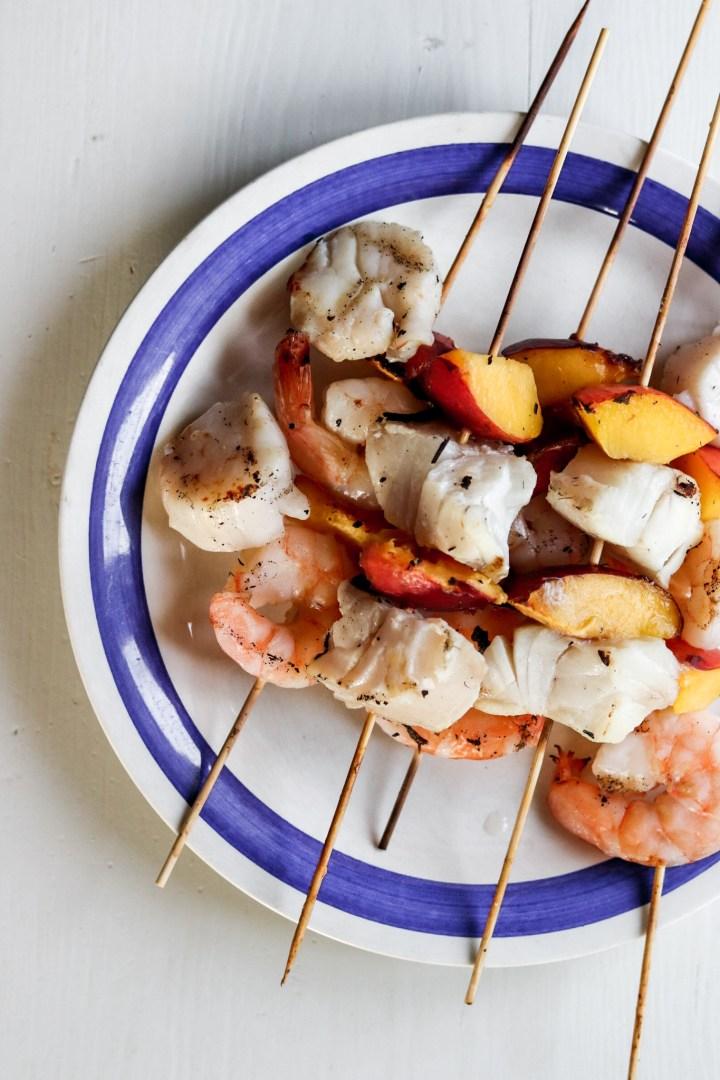 Fish, Seafood & Nectarine Skewers