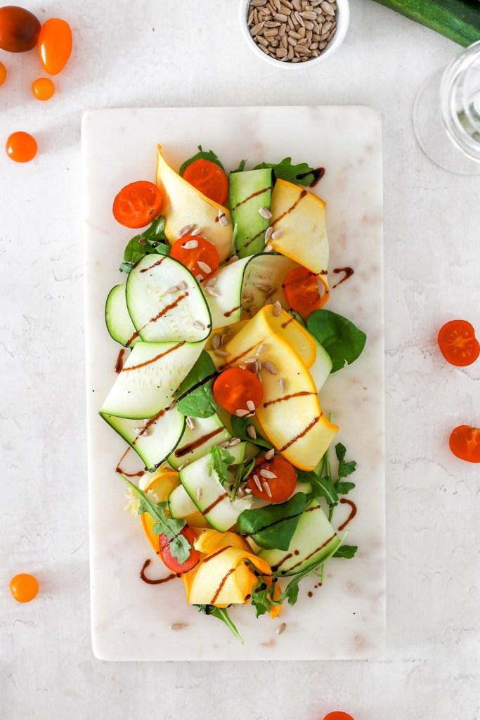 Zucchini Carpaccio (Vegan, Gluten, Grain Free & Low Carb) From Above
