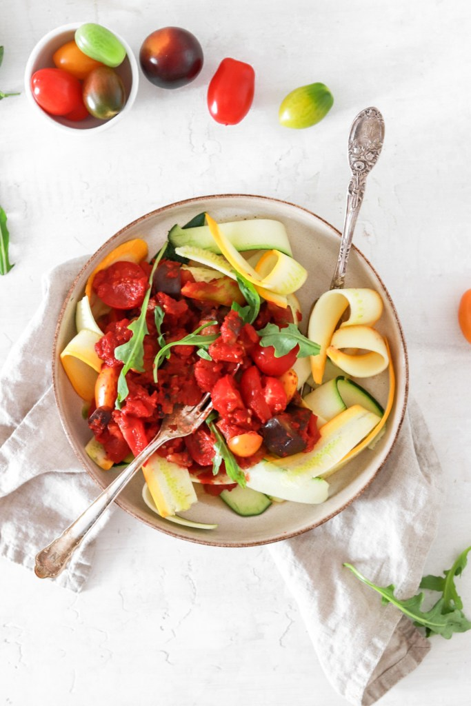Zucchini Pappardelle with Tomato & Vegetable Sauce (Vegan, Gluten, Grain Free & Low Carb) From Above