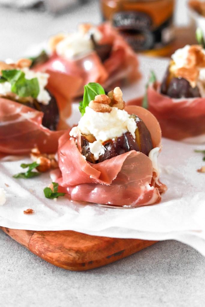 Fresh Figs with Goat Cheese & Prosciutto (Gluten & Grain Free) Close Up