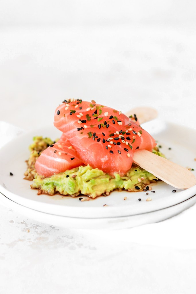 Salmon Sashimi Popsicle with Avocado Cream (Gluten, Grain Free & Low Carb) On Plate