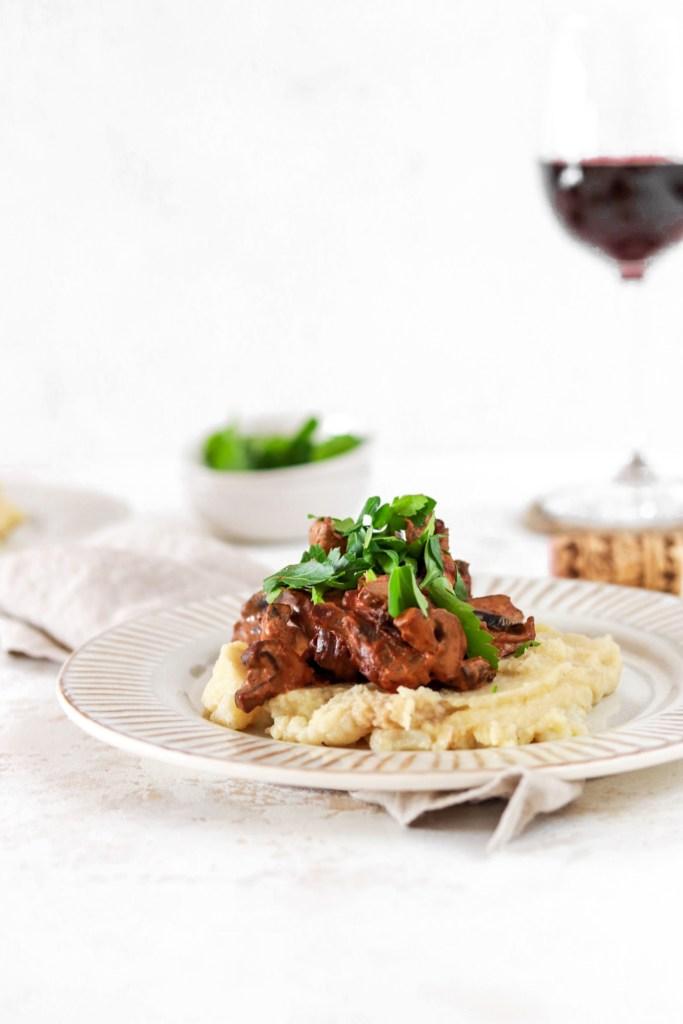 Mushroom Stroganoff (Vegan, Gluten, Grain Free & Low Carb) From Front