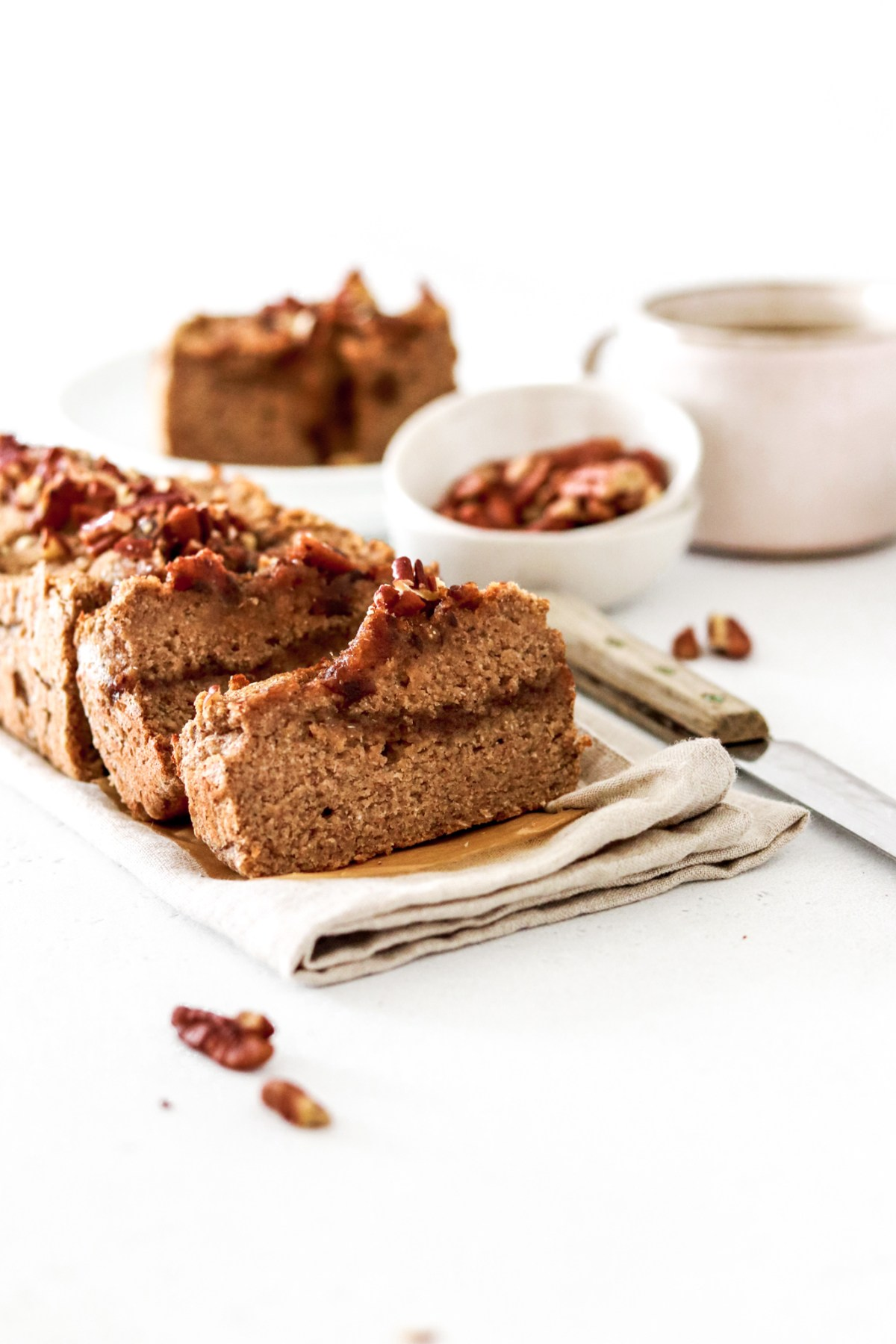 Grain, Gluten & Sugar Free Salted Caramel Pecan Banana Bread From Front