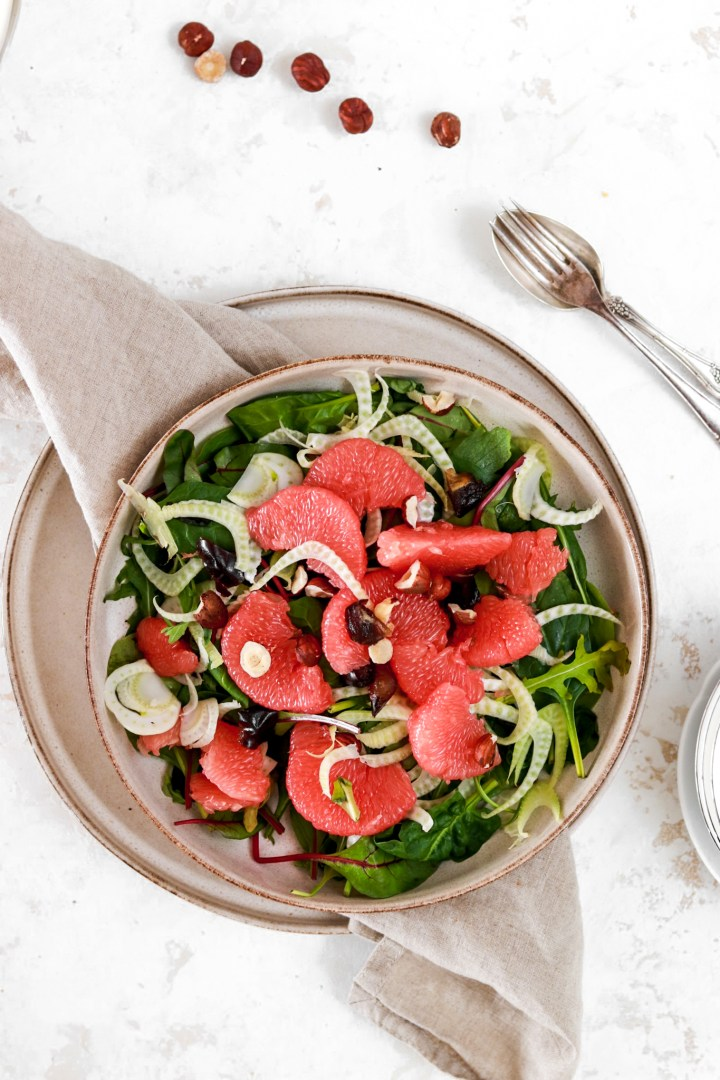 Grapefruit Salad with Shaved Fennel, Dates & Hazelnuts (Gluten & Grain Free)