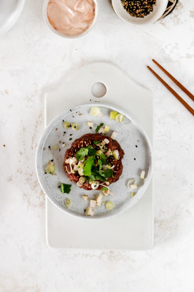 Korean Beef Tartar (Gluten Free & Low Carb) From Above